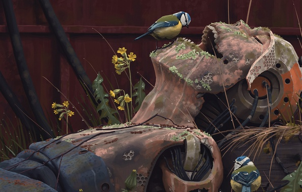 Картинка трава, фантастика, робот, художник, птички, руины, киборг, art, Simon Stålenhag, Саймон Стэленхаг