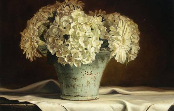 Картинка макро, цветы, стол, рисунок, ромашки, картина, ваза, репродукция, скатерть, гортензии, Kyle, Polzin