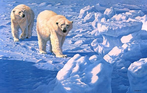 Картинка зима, снег, медведи, живопись, белый медведь, John Seerey-Lester, Along the Ice Floe, полярный
