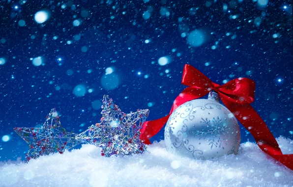 Фото обои снег, украшения, шары, Новый Год, Рождество, Christmas, balls, decoration, Merry