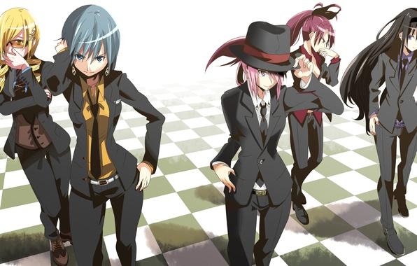 Картинка девушки, шляпа, аниме, арт, костюм, галстук, mahou shoujo madoka magica, akemi homura, kaname madoka, miki …