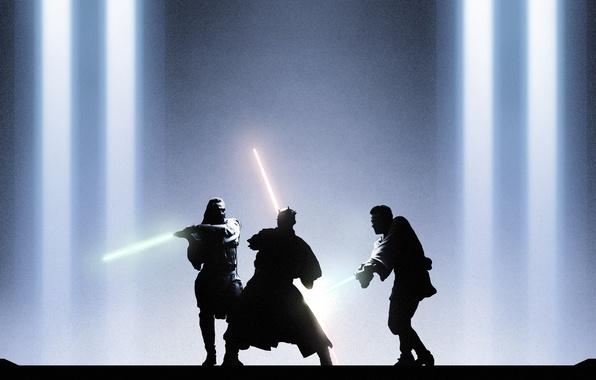 Картинка star wars, Darth Maul, jedi, Obi-Wan Kenobi, Qui-Gon Jinn, Звёздные войны. Эпизод I: Скрытая угроза, ...
