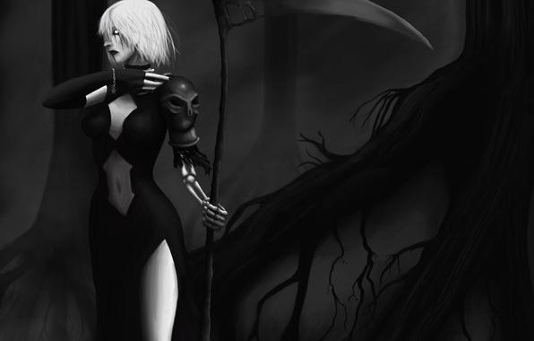 Картинка лес, девушка, ночь, корни, смерть, оружие, череп, арт, кости, коса, nouren