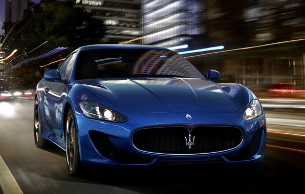 Картинка Maserati, Огни, Ночь, Город, Спорт, Машина, Скорость, Мазерати, Car, Автомобиль, Beautiful, Speed, GranTurismo, Night, Wallpapers, …