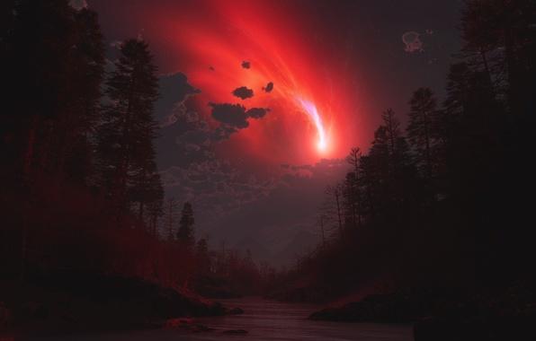 Картинка лес, облака, ночь, сияние, комета, речка