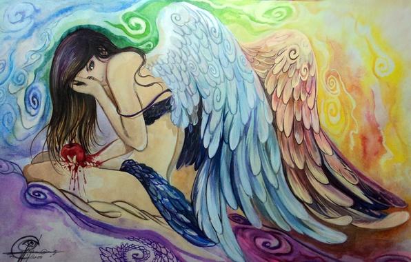 Картинка взгляд, девушка, лицо, поза, волосы, крылья, ангел, руки, живопись, сидит