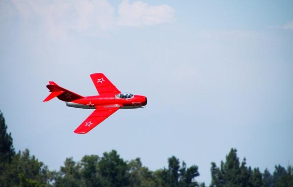 Картинка Красный, истребитель, Модель, Игрушка, МиГ-15, Fagot, Летит, Микоян, Гуревич, Радиоуправление