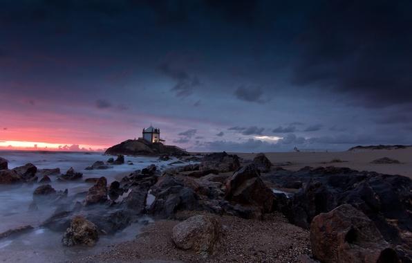 Картинка rock, beach, sea, coast, sunset