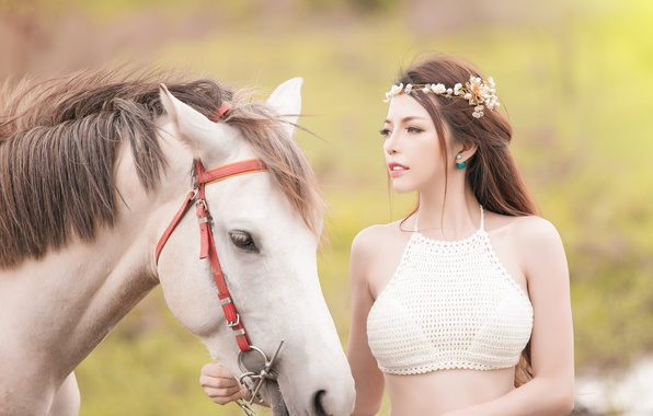 Картинка морда, девушка, настроение, конь, лошадь, венок