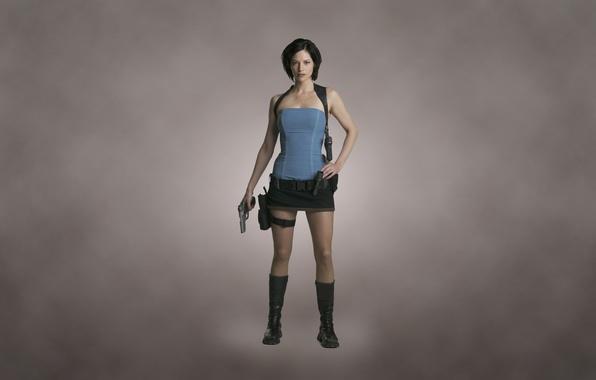 Картинка девушка, пистолет, оружие, пушка, Jill Valentine, темноватый фон, Сиенна Гиллори, Resident Evil Apocalypse, Sienna Guillory, …