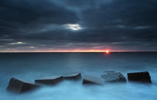 Фото обои блоки, море, закат