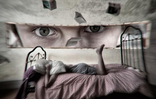 Фото обои взгляд, девушка, арт, воображение, фантазия, кровать, глаза