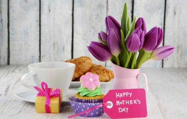 Картинка цветы, праздник, коробка, подарок, кофе, еда, карта, букет, чашка, тюльпаны, торт, cake, box, крем, десерт, …