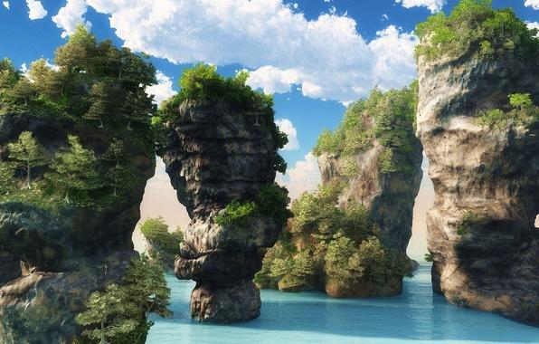 Картинка море, зелень, острова, облака, деревья, пейзаж, природа, скалы, растения, глыбы