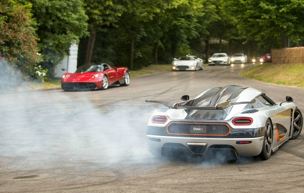 Картинка Koenigsegg, drift, supercar, smoke, power, spyker, burnout, Agera, pagani, One:1