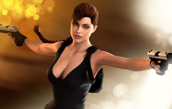 Картинка девушка, блики, рендеринг, фон, пистолеты, Angelina Jolie, Tomb Raider, 3D модель, Lara Croft, art by …