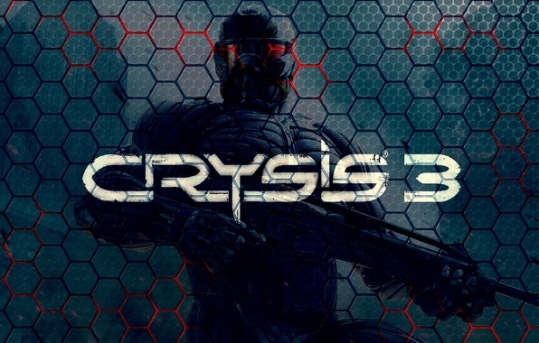 Картинка Соты, Солдат, Оружие, Автомат, Текстура, Текст, Crysis 3