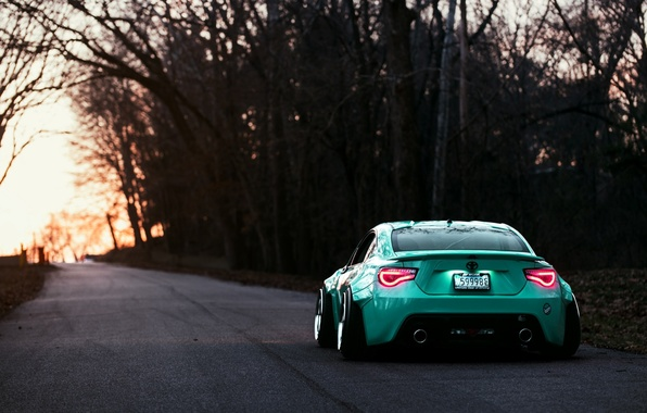 Картинка Toyota, GT86, Stance, Rear, Turquoise, Works
