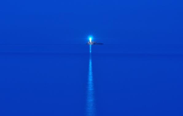 Картинка море, ночь, маяк, остров