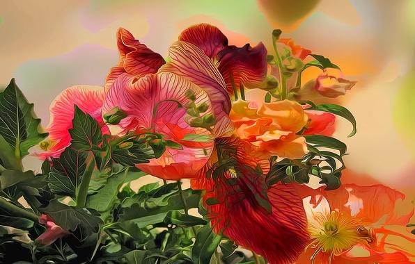 Картинка листья, линии, цветы, краски, растение