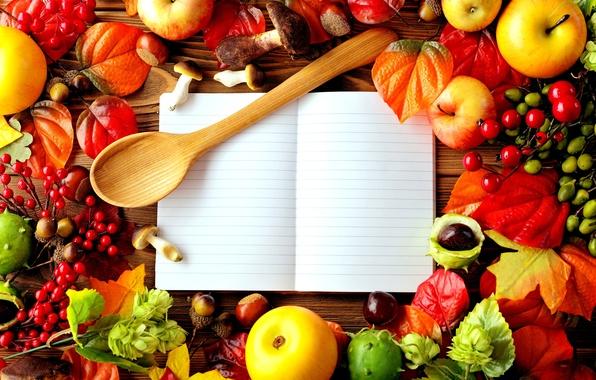 Картинка осень, листья, ягоды, стол, яблоки, грибы, шиповник, ложка, тетрадь, древесина, каштаны, жёлуди