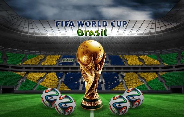 Картинка футбол, мячи, Бразилия, stadium, football, flag, ball, кубок мира, World Cup, Brasil, FIFA, 2014, бразука, …