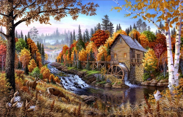 Картинка осень, деревья, пейзаж, природа, река, арт, олени, водяная мельница, Mark Daehlin