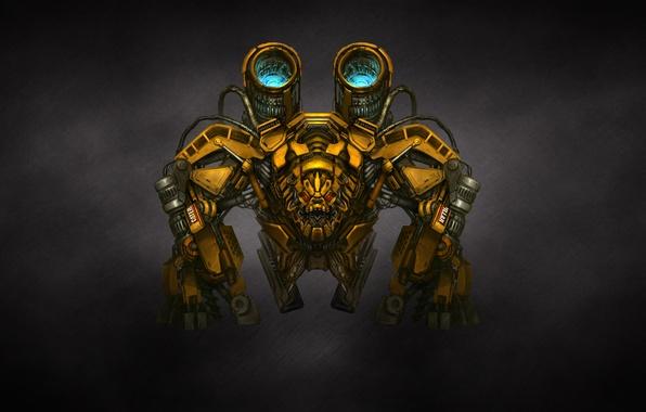 Картинка желтый, трансформеры, темный фон, оружие, механизм, робот, пушки, transformers