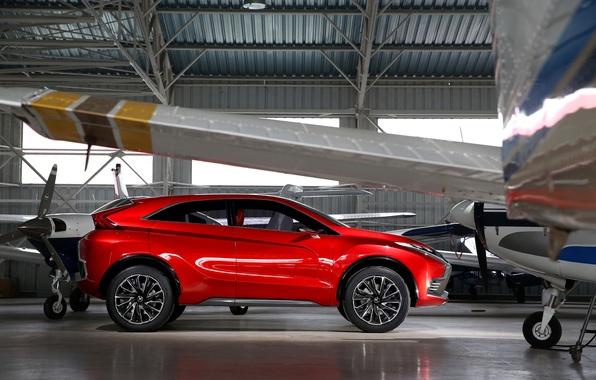 Картинка фото, Красный, Mitsubishi, Автомобиль, Сбоку, 2015, Металлик, XR-PHEV II