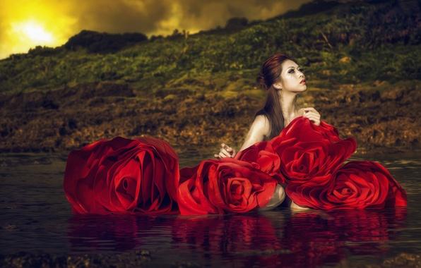 Картинка вода, девушка, цветы, стиль, розы, азиатка