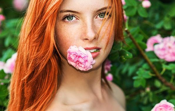 Картинка цветок, портрет, веснушки, рыжеволосая, зубки
