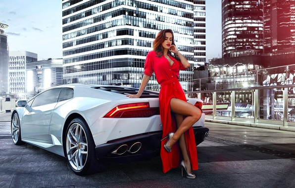 Картинка Lamborghini, Girl, Red, Legs, Model, White, Dress, Nice, Huracan