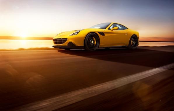 Картинка Ferrari, Speed, Front, Sun, Yellow, Supercar, Rosso, Novitec, 2015, California T