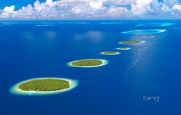 Картинка море, небо, остров, атолл, Мальдивы, Maldives, Southern Maalhosmadulu Atoll