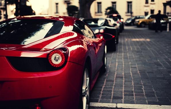 Картинка красный, черный, veyron, Ferrari, red, bugatti, supercar, феррари, бугатти, 458, italia, blue, италия, вейрон