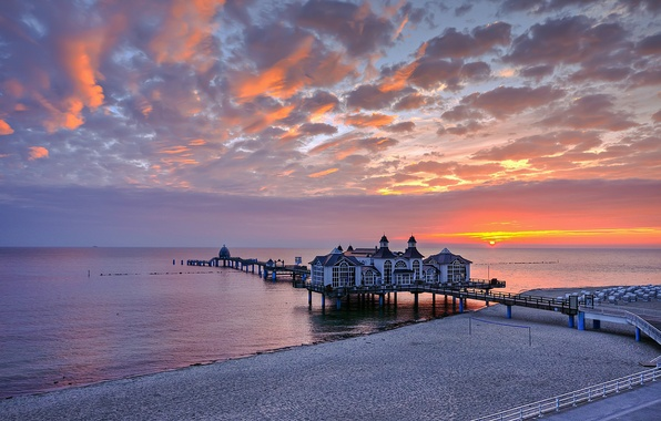 Картинка закат, Германия, пирс, ресторан, Germany, Sellin, Sellin Pier, Балтийское море
