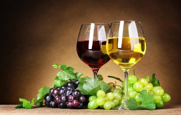 Картинка листья, ягоды, вино, красное, белое, бокалы, виноград, грозди