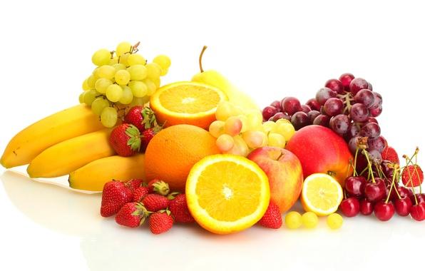 Картинка ягоды, лимон, яблоки, апельсины, клубника, виноград, бананы, белый фон, груша, lemon, фрукты, черешня, cherry, grapes, …