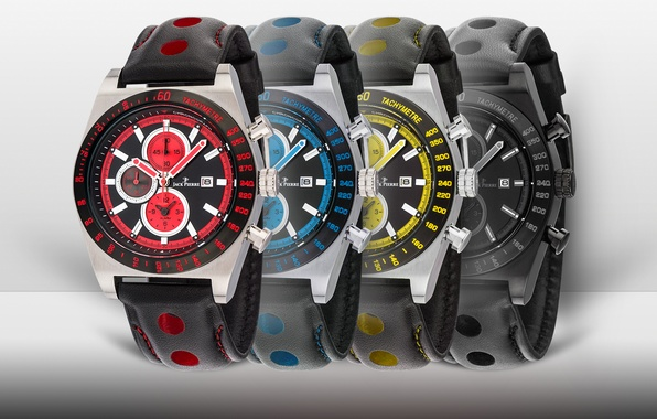 Картинка red, black, yellow, blue, watch, Jack Pierre