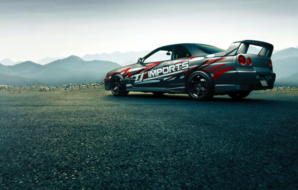 Картинка Japan, Nissan, Car, Race, Skyline, Sport, R34, Rear, GTT