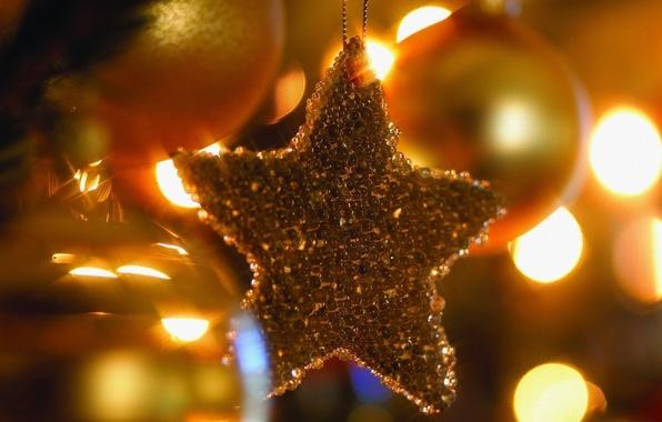 Картинка макро, огни, фото, фон, праздник, обои, игрушки, елка, новый год, атмосфера
