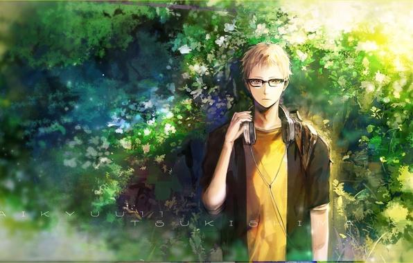 Картинка аниме, наушники, арт, очки, парень, haikyuu!!, tsukishima kei, orka