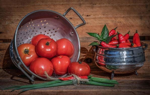 Картинка лук, перец, помидоры, томаты