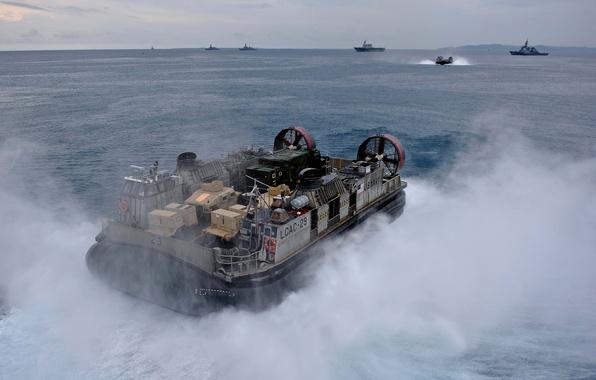 Картинка брызги, корабль, флот, море., подушке, воздушной, hovercraft, десантный
