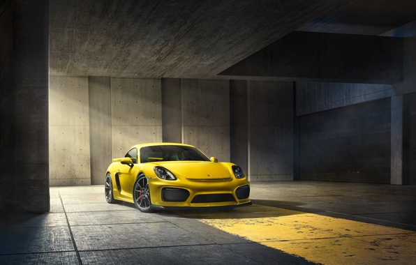 Картинка Porsche, Cayman, Front, Yellow, Parking, Supercar, GT4, 2015