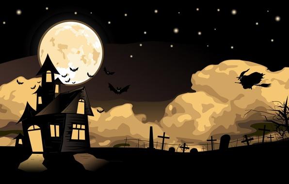 Картинка ночь, вектор, мистика, арт, Halloween, Хэллоуин, Праздник, картинка