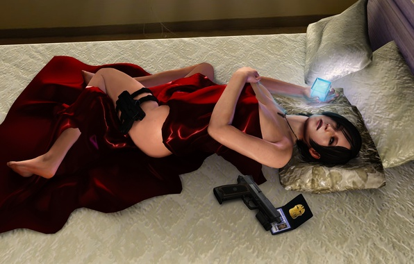 Фото обои оружие, Ada Wong, постель, fanart, кровать, подушки, девушка, gun, Resident Evil, pistol, Biohazard, ноги, значок, ...
