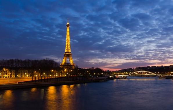 Картинка ночь, огни, река, эйфелева башня, Франция, Париж, Paris