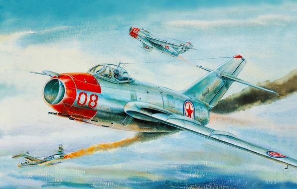 Картинка Небо, Рисунок, Война, истребитель, Полет, Нос, АРТ, Корея, МиГ-15, Fagot, F-86, Микоян, Гуревич, Сбит