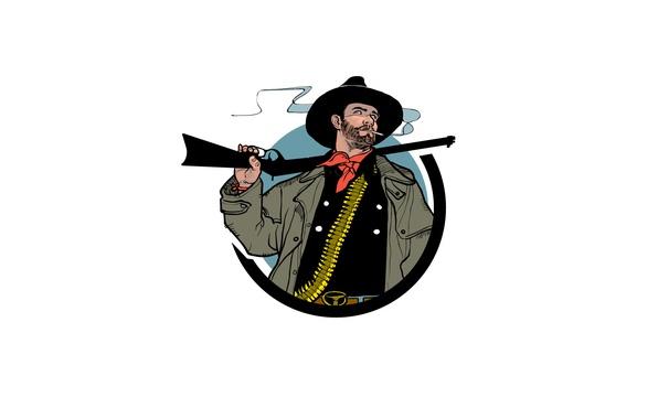 Картинка оружие, дым, шляпа, сигарета, ковбой, винтовка